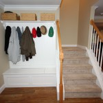Coat rack with bench seat.