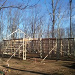 First truss is up.