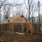 Setting trusses & perlins.